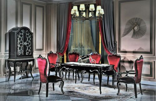 Black Baroque Rococo Lehn Chair 6x Chairs Set Group Set Antique Style New