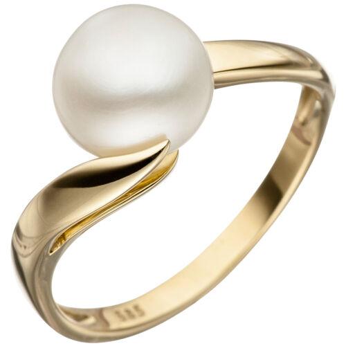 Damen Ring 585 Gold Gelbgold 1 Süßwasser Perle Perlenring Goldring.