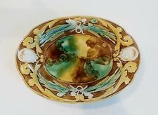 RARE 19th C. MAJOLICA ART POTTERY WHEAT, RIBBONS & MASK BREAD TRAY / PLATTER