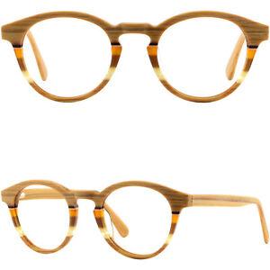 Damen-Herren-Brille-Kunststoff-Fassung-Gestell-Rund-Federbuegel-Holz-Acetat-Panto
