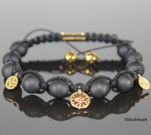 Damen Armband mit Goldmünzen  Matt Onyx Edelstein-Perlen Shamballa für Frauen