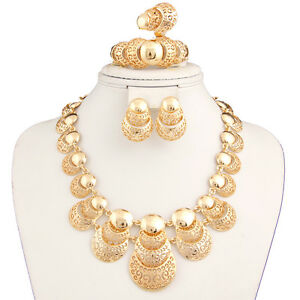 Dubai 18k gold plated statement big necklace set for women for Is gold plated jewelry worth anything