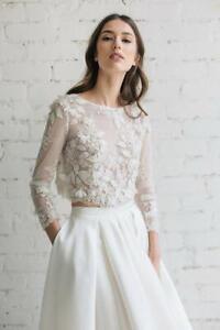 Wedding-Bolero-Jacket-Pearls-Cape-White-Ivory-3-4-Sleeves-Applique-Custom-Made