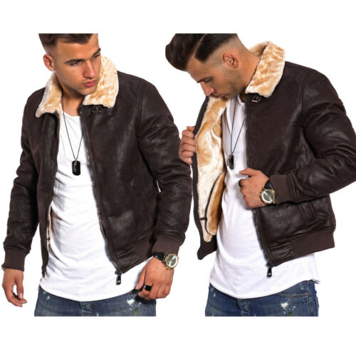 Behype señores chaqueta arte-chaqueta de cuero negro con pelaje-imitacion Biker chaqueta nuevo