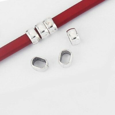 10Pcs Silver//Gold//Copper Sliders Spacer Beads Fit 10*6mm Licorice Leather Cord