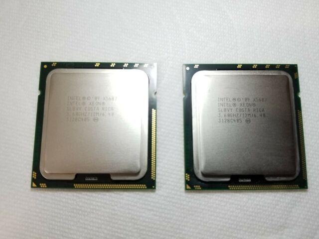 MATCHED PAIR Intel Xeon X5687 3.60GHz 12MB 6.4GT//s LGA 1366 Quad-Core CPU SLBVY