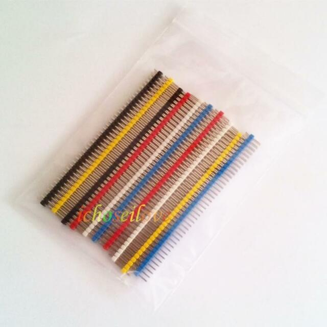 10PCS Multicolor 2.54mm 2*40Pin Color Male Double Row Pin Header for Arduino DIY