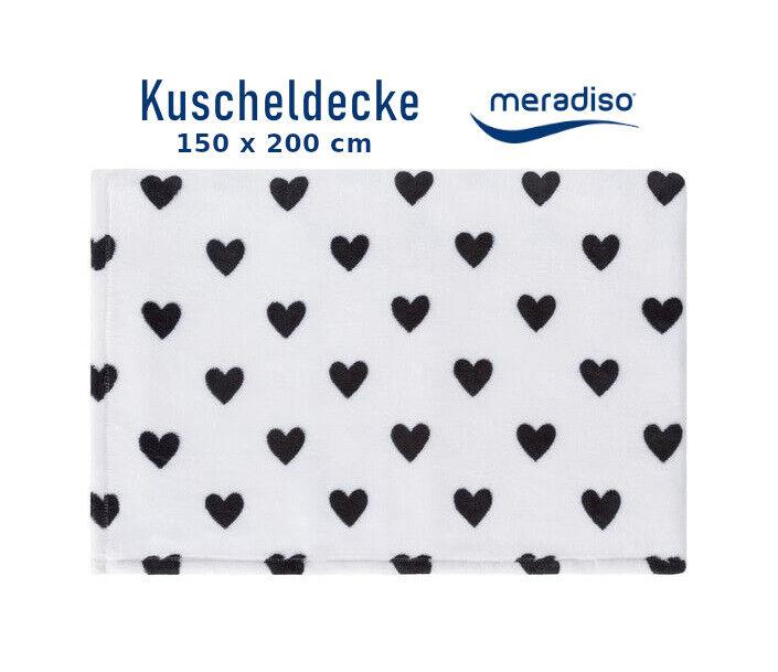 Wohndecke XXL 150x200cm Kuscheldecke Decke Herzen Weiß Flauschig MERADISO®