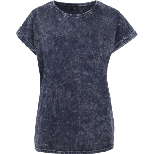 Build Your Brand Women/'s Acid Washed Extended Shoulder Tee BY053