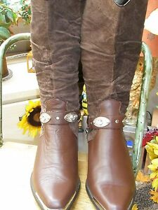 Oak-Tree-Farm-Cowgirl-Boots-Brown-Leather-Calf-Length-Ankle-Chain-UK7-5-EUR-40-5