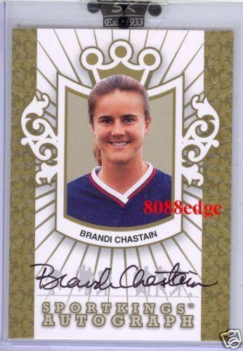Tarjeta De oro 2008 Sport Kings auto  Brandi Chastain 10 autógrafo