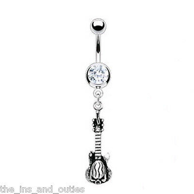 Skull Guitar Gem Dangle Belly Ring Navel Music Musical Instrument (w239)