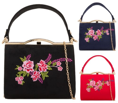 Ladies Stitched Flower Top Handle Clasp Prom Party Occasion Clutch Bags