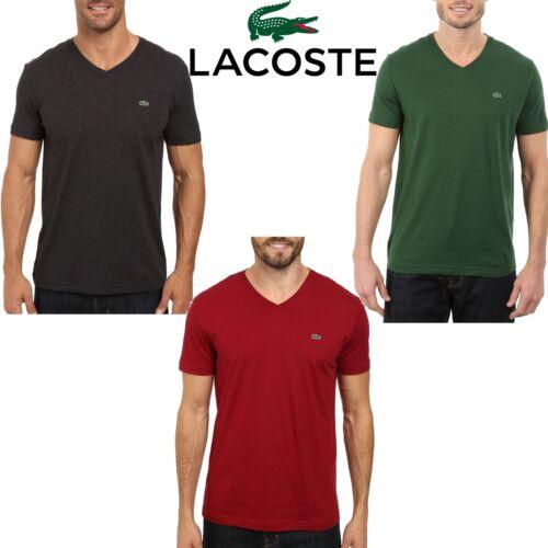 Lacoste con cotone corta Fit Pima in scollo maglia a New manica V T shirt uomo in Regular pZSW8Wfx1