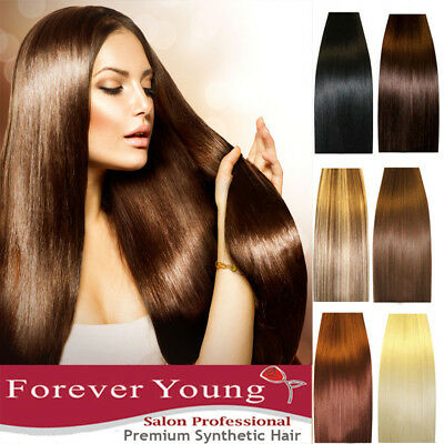 "Hair Extensions Real Thick Half Full Head Clip In Long 18-28"" Feels Human Weft"