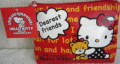 HTF Sanrio Japan Limited Red Hello Kitty Cute Cosmetic Pouch Case Zipper Bag New