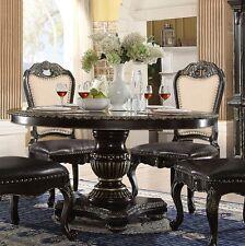 "Matteo 60"" Round Dark Gothic Dining Table In Ebony & Gold Brush"