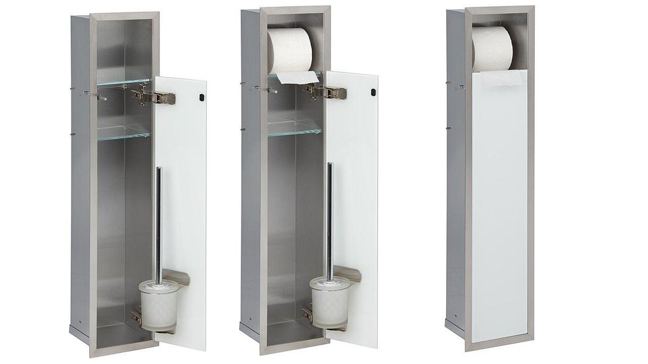 Unterputz Edelstahl WC Einbaucontainer Bürstengarnitur Toilettenpapier Nische