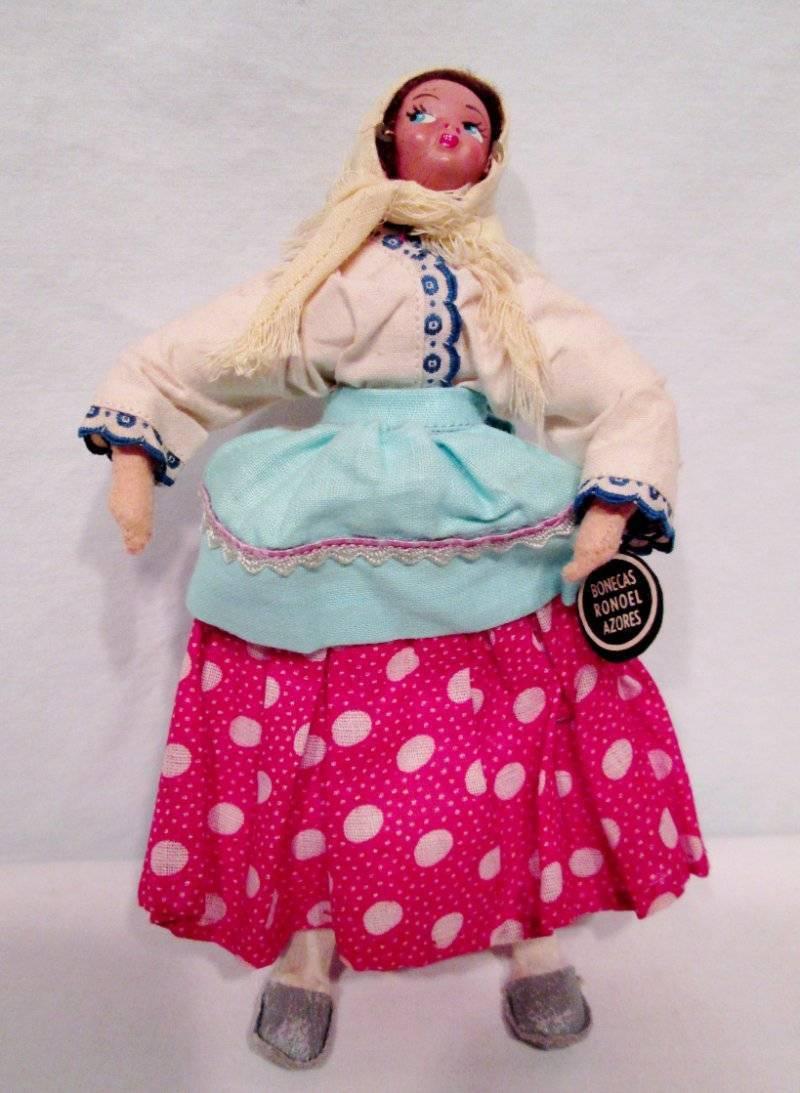 De Colección bonecas Ronoel español Muñeca De Tela Bufanda De Plástico Cara Mujer Campesina Falda 50s