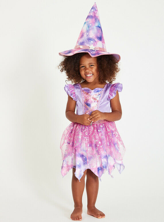 Girls Halloween Pink Wicked Witch Costume Outfit with Hat Size 9-12 Months (NEW)