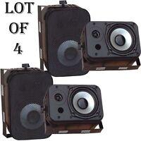Lot Of (4) Pyle Pdwr40b 400 Watt 5.25 Indoor/outdoor Waterproof Speakers Black on sale