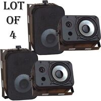 Lot Of (4) Pyle Pdwr40b 400 Watt 5.25 Indoor/outdoor Waterproof Speakers Black on sale