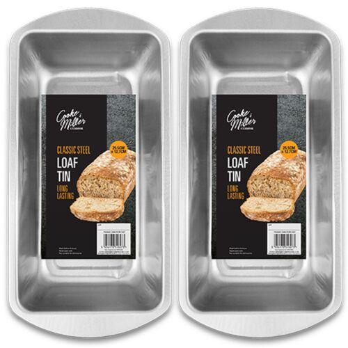 2x Deep Rectangle Baking Tins Four Plateau Pan moule de cuisson pain gâteau Pain Pain de viande