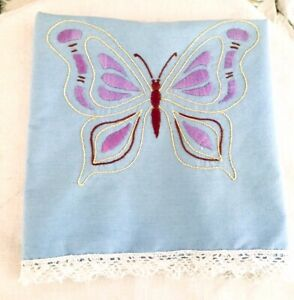 Vintage-Embroidered-amp-Crocheted-Dresser-Scarf-Blue-w-Purple-Butterflies