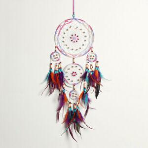Handmade-Feather-Dream-Catcher-Circular-Wall-Interior-Home-Hanging-Decoration-S8