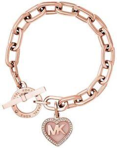eedef93268fe MICHAEL KORS Rose Gold-tone Logo Valentine Heart Charm Bracelet ...