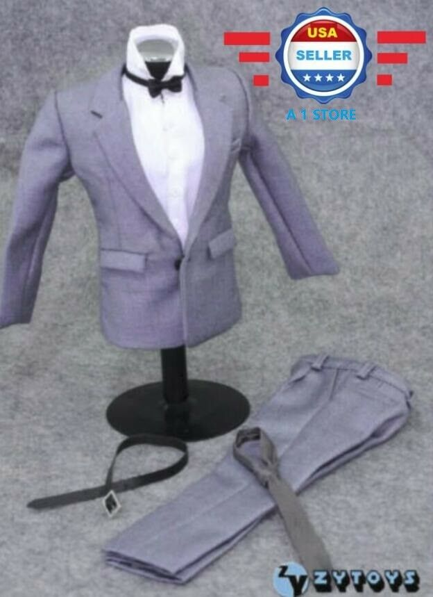 ZY TOYS 1 1 1 6 scale GREY SUIT FULL set w  TWO TIES for 12'' male figure body 8c7ca1