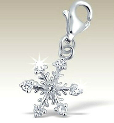 925 Sterling Silver -  3D  'SNOW FLAKE  cz'   - Clip On Charm fits link bracelet
