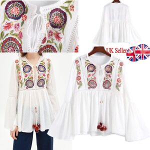 39124ae3a8fa UK Womens Retro Floral Embroidered Tops Tassel T Shirts Hollow Out ...