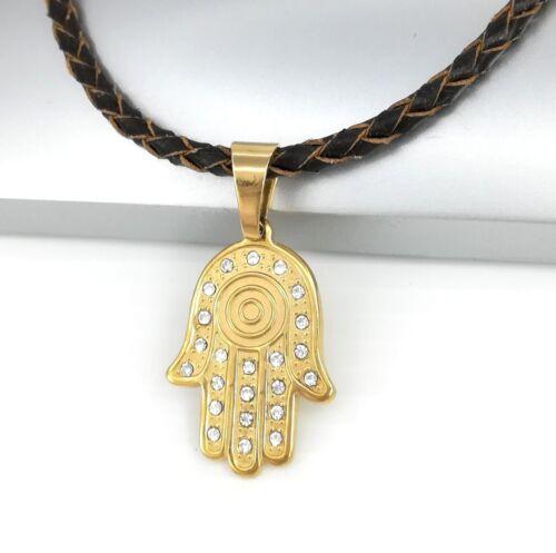 Hand of God Fatima Judaica Hamsa Kabbalah Pendant Brown Braided Leather Necklace