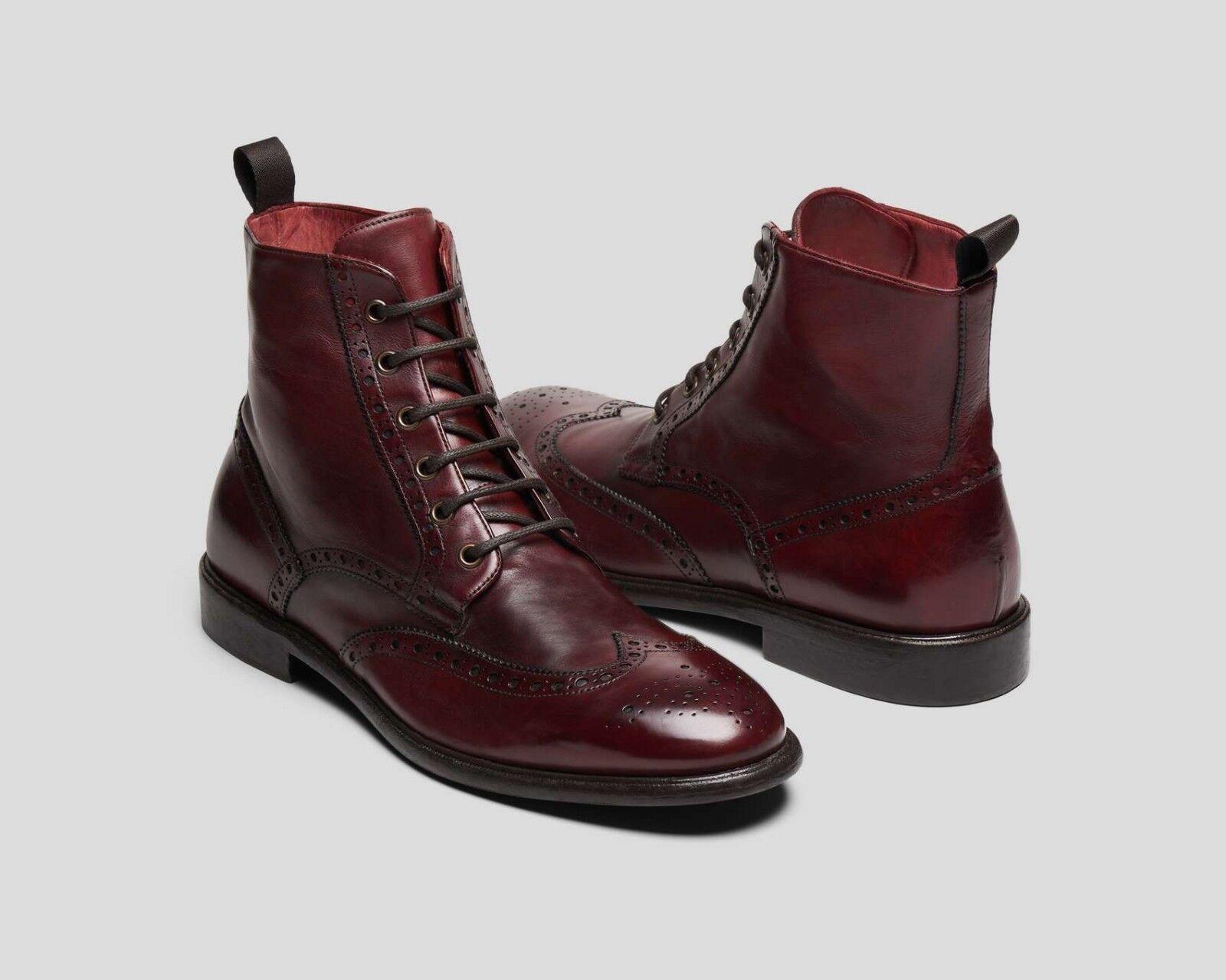 Handmade Men Burgogne Lace Up stivali, Men Ankle Leather stivali,  Men stivali  consegna diretta e rapida in fabbrica