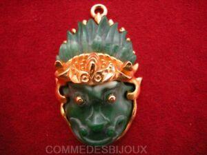 """Pendentif """"evil Face Dieu Singe Fou"""" Résine Vert 60's - Bijoux Pur Vintage"""