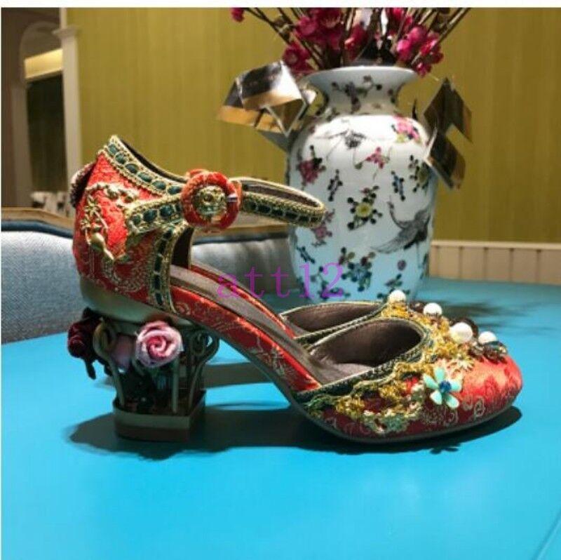 I fiori POMPE HOT Da Donna Festa Matrimonio Birdcage fibbia perle strass scarpe