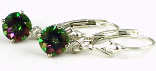 Handmade • SE017 6mm MYSTIC FIRE TOPAZ Sterling Silver Leverback Earrings