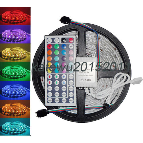 5M 5050 RGB SMD LED Waterproof Flexible Strip 300 LEDs + 44 Key IR Remote