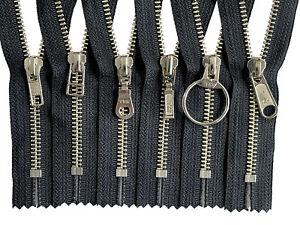 5pcs-YKK-5-Nickel-Closed-End-Metal-Zipper-Black-Tape-with-Fancy-Pull-8-034-9-034