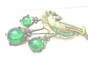 Vintage-Retro-Green-cabochons-And-Rhinestones-Lovely-Pin-Brooch