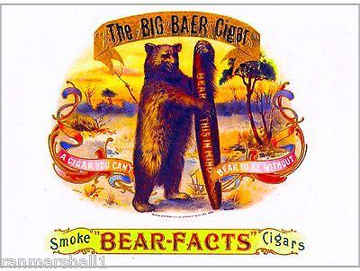 Baer Facts Bear Vintage Cigar Tobacco Box Crate Inner Label Art Print