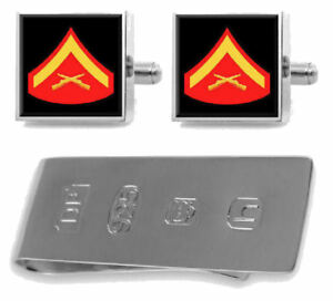 100% Vrai Sterling Boutons De Manchette Pince à Billets U.s Marines Lance Caporal