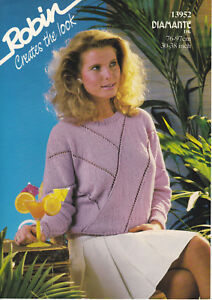 Robin-Knitting-Pattern-Ladies-amp-Girls-Sweater-Jumper-Diamante-DK-30-38