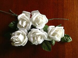 Vintage-Millinery-Flower-Rose-5pc-Lot-Cotton-1-1-8-034-Soft-White-for-Hair-Crown-UA