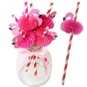 12PCS-Paper-Birthday-Party-Funny-Flamingo-Honeycomb-Striped-Drinking-Straws-Gx