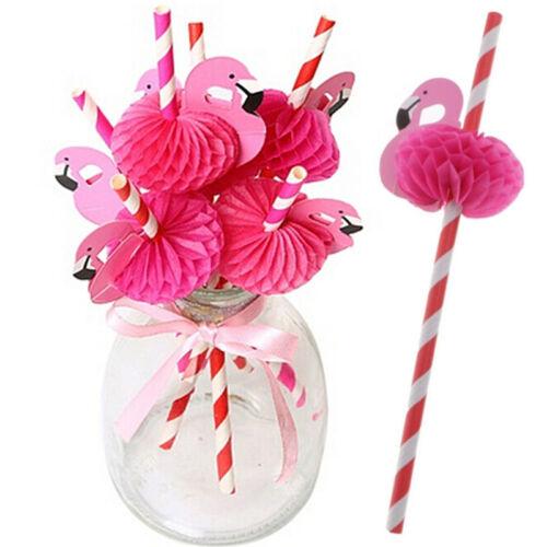 12 x papel de fiesta de cumpleaños divertido flamenco panal rayas bebiendo pajas