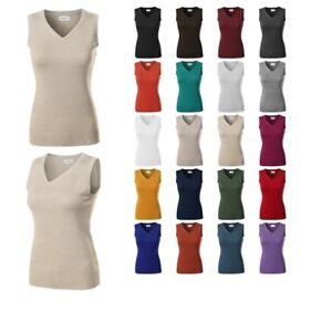 Awesome21 Womens Solid Office Look Soft Stretch Sleeveless Viscose Knit Vest Top