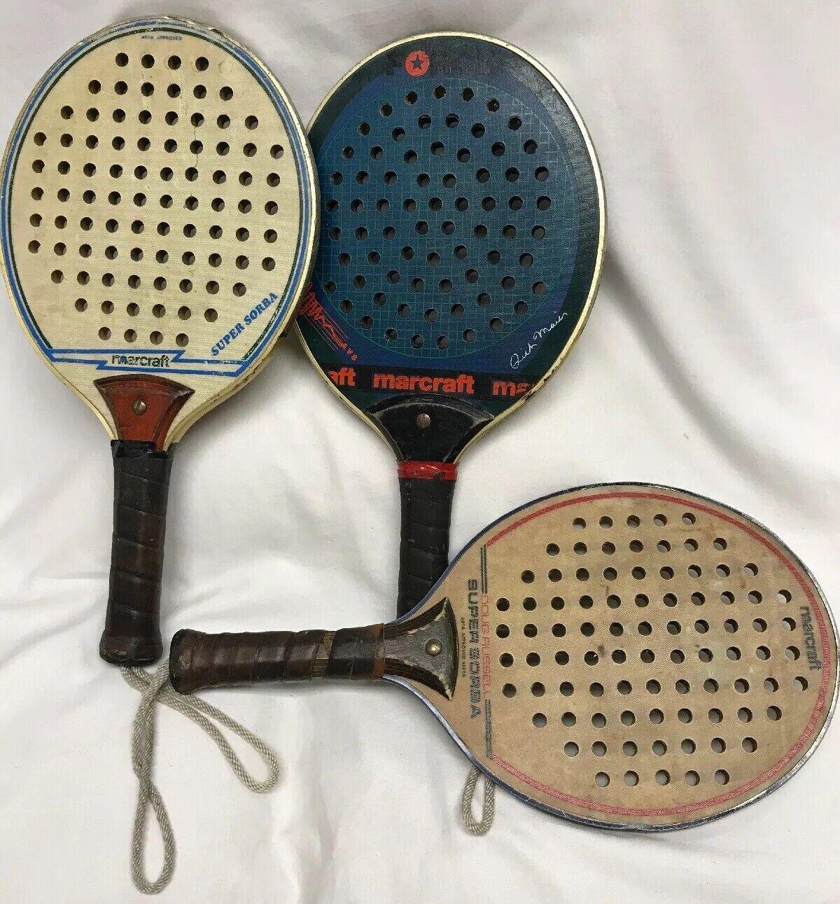 Lote de 3 Raquetas De Tenis Paddle Marcraft Doug Russell súper Sorba Rico Maier