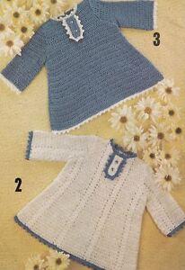 Crochet Pattern Baby Girls Long Sleeve Dress Ebay